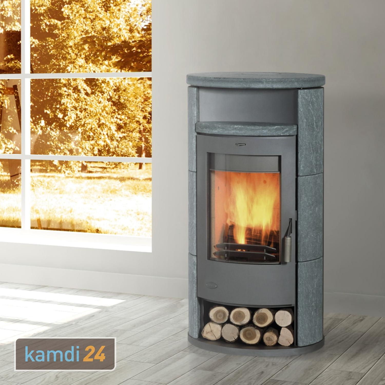 Fireplace Kaminofen Dauerbrandofen Meltemi Speckstein gussgrau 8 kW