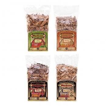 Axtschlag Wood Smoking Chips 4er-Set: Apfel, Whisky-Eiche, Devil´s Smoke & Klaus Grillt