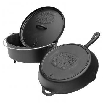 Camp Chef Classic Dutch Oven SDO-12 + Cast Iron Pfanne 30 cm + Deckel