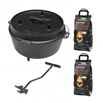 Camp Chef Deluxe Dutch Oven DO-12 + TOM COCO Grill-Kokoskohlebriketts 2er-Pack