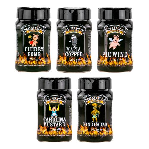 Don Marco´s Rub-Set: Cherry Bomb, Mafia Coffee, PigWing® Seasoning, Carolina Mustard & King Cacao