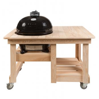Primo Keramik Grill Oval 400 XL + Counter Top Tisch Zypressenholz
