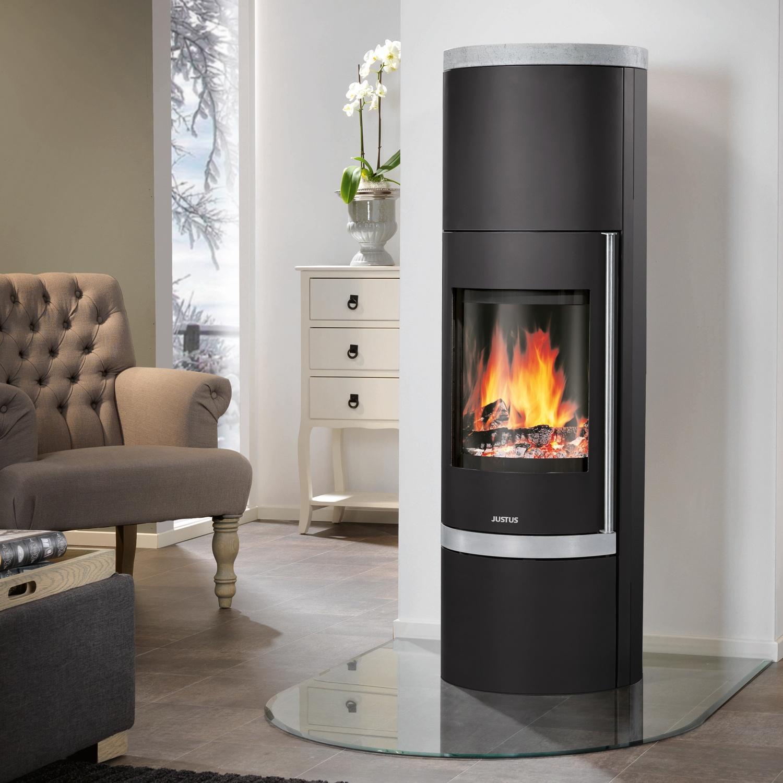 justus faro w kaminofen stahl schwarz speckstein 7 kw kamin ebay. Black Bedroom Furniture Sets. Home Design Ideas